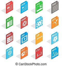 isometric, ikony, komplet, styl, rząd, typ, 3d