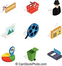 isometric, ikony, komplet, styl, społeczeństwo, dzisiaj