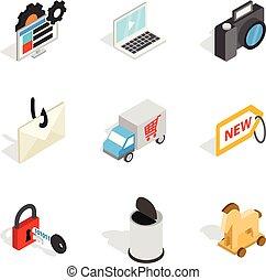 isometric, ikony, komplet, styl, społeczeństwo, online