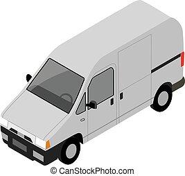 isometric, illustra, vector, vrachtwagen, kleine, vervoer, cargo.
