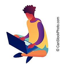 isometric, illustration., arbete, laptop, affärsman, 3