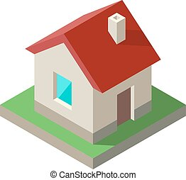 isometric, illustration., casa, vetorial, ícone, logo.