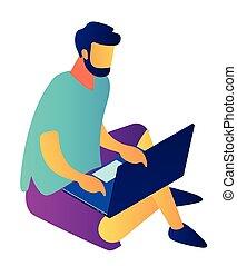 isometric, illustration., dolgozó, laptop, üzletember, 3