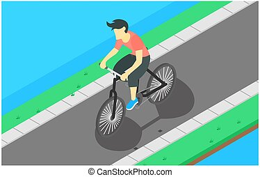 isometric illustration flat design of cycling on the road, during the morning, vector illustration