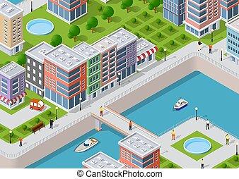 Isometric illustration of a city
