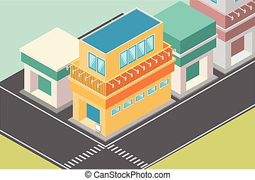 isometric illustration of a Japanese-style restaurant building by the roadside, vector illustration