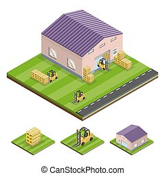 Isometric illustration of a logistics stock
