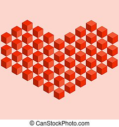 Isometric illustration of a red heart