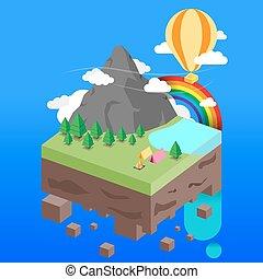 isometric illustration of forest la