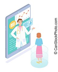 Isometric illustration of mobile, online consultation with doctor, virtual medical aid, patient card