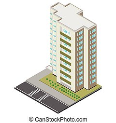 isometric illustration of roadside skyscrapers building, vector illustration