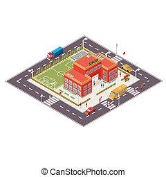 isometric illustration of school building