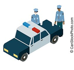 isometric illustration of two policemen drinking coffee near the car
