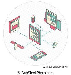 isometric illustration of website analytics
