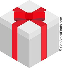 Isometric illustration of white square gift box with red ribbon bow isolated on a white background.