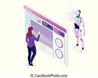 isometric, illustration., pracujący, banner., display., inteligencja, concept., programowanie, robot, sztuczny, wektor, utrzymanie, cyfrowy, poziomy, inżynier