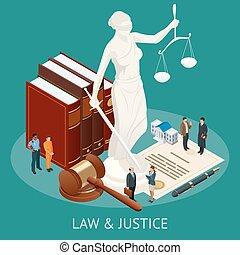 isometric, illustration., skalpy, sprawiedliwość, sprawiedliwość, concept., pobijak, temat, książki, wektor, statua, prawo, sędzia