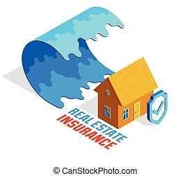 isometric, illustration, tsunami, vit, protection., våg, naturlig, vatten, isolerat, katastrof, bakgrund, vektor, försäkring, gigant, begrepp, verkligt gods, hus