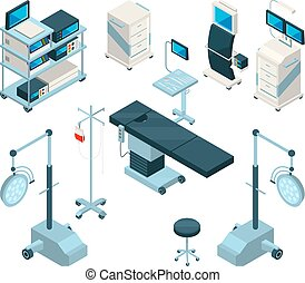 Isometric illustrations of medical equipment in operating room. Hospital pictures set