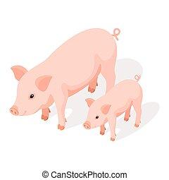 isometric, ilustração, porca, grande, vetorial, pequeno, 3d