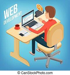 Isometric image wed development. Man sitting at his desk,...