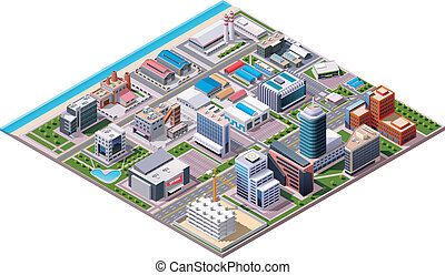 Isometric set of the buildings, road elements and plants