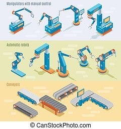Isometric industrial automated factory horizontal banners with manipulators robotic arms and assembly line parts vector illustration