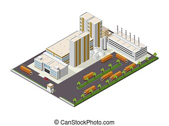isometric Industrial buildings composition with view of the facilities