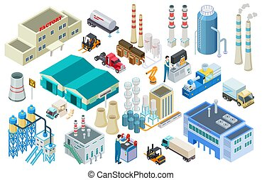 Isometric industrial buildings, workers, delivery trucks, factory and warehouse vector collection