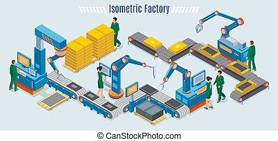 isometric, industrial, fábrica, modelo