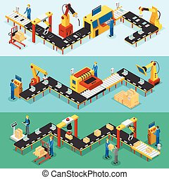 Isometric Industrial Factory Horizontal Banners - Isometric...