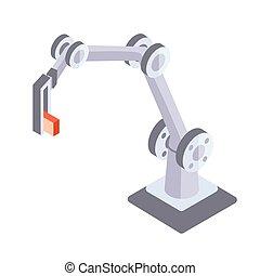 isometric, industrial, mão., isolado, ilustração, robô, experiência., vetorial, robotic, projeção, branca, manipulator.