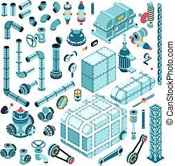 isometric, industrial, partes, grande, jogo, sobressalente, maquinaria, detalhes