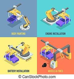 isometric, industrial, phases., car, linha., vetorial, maquinaria, automatizado, ilustrações, producao
