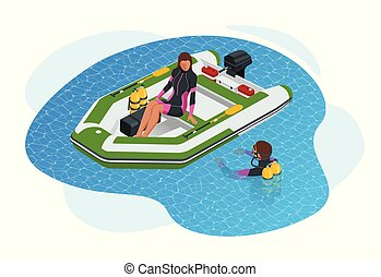 Isometric inflatable boat. A modern inflatable boat with ...