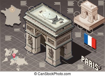 Isometric Infographic Arc de Triomphe in Paris - HD Quality...