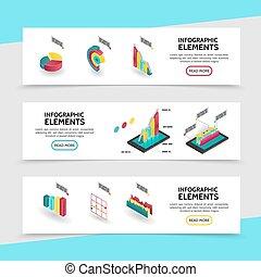 Isometric Infographic Elements Horizontal Banners