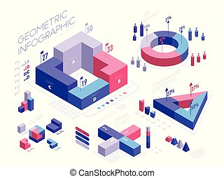 Isometric infographic elements with geometric shapes, icons, graphs, pie diagram, percentage. Set of Isometric 3D bar charts, statistics, report vector flat illustration isolated on white background.