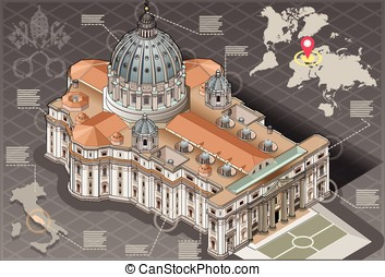 Isometric Infographic of Saint Peter of Vatican - Detailed...