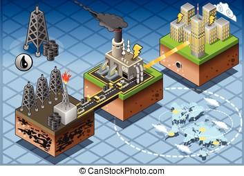 Isometric Infographic Petroleum Energy Harvesting Diagram -...