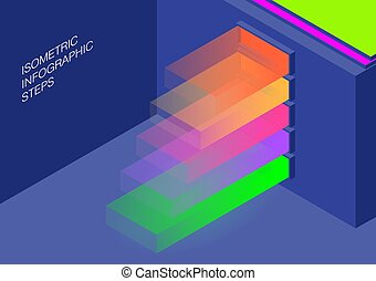 isometric infographics steps.