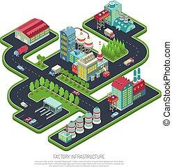 isometric, infrastructuur, fabriek, samenstelling