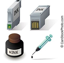 Isometric ink cartriges refill icons set with shadows on...