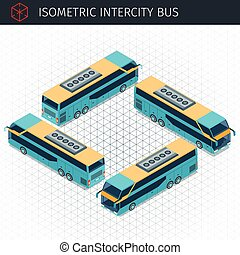 Isometric intercity bus. 3d vector transport icon. Highly...
