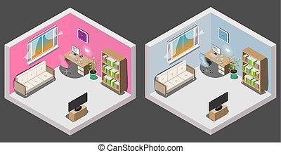 Interieur jongen kamer. blauwe gekleurde boy. illustratie