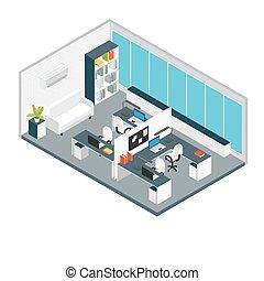 isometric, interior, escritório, local trabalho, composição