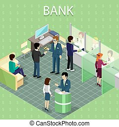 Isometric Interior of the Bank with People - Isometric...
