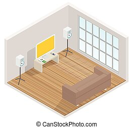 isometric interior of the room with a TV