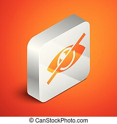 Isometric Invisible or hide icon isolated on orange background. Silver square button. Vector Illustration