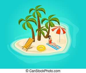 Isometric Island Vacation Concept - Isometric island...